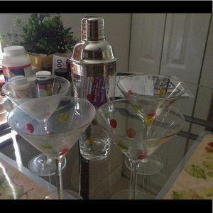 Multicolored Polka Dot Martini Glass Shaker Set